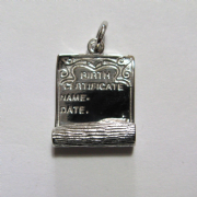 Sterling Silver Birth certificate charm